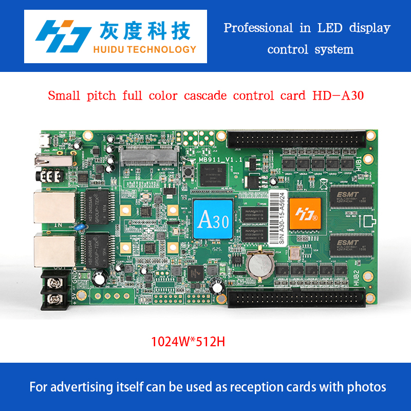 HD-A30 with 3G module and Humidity & temperature sensor advertising video led display controller