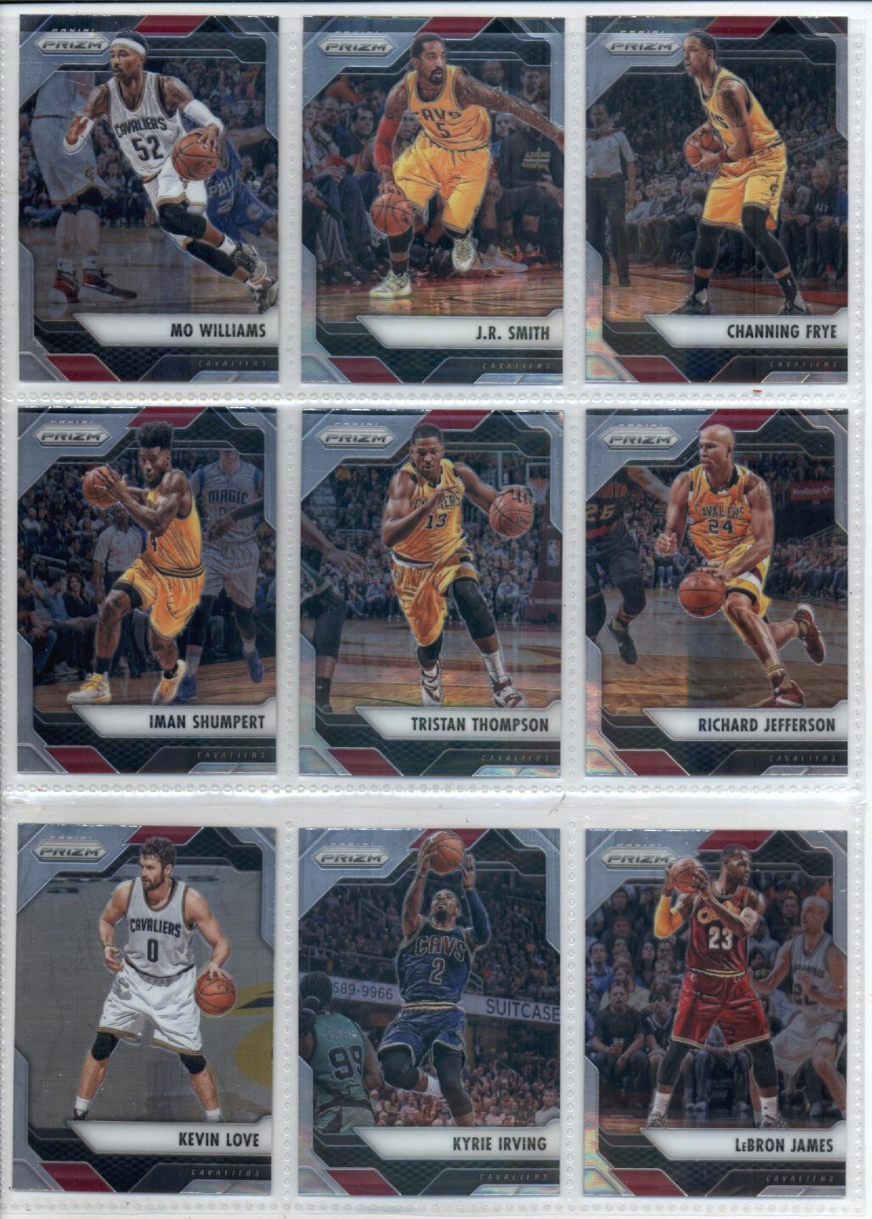 2016-17 Panini Prizm Veteran Cleveland Cavaliers Team Set of 9 Cards SEALED in Protective Snap Case which includes: LeBron James(#31), Kyrie Irving(#32), Kevin Love(#34), Richard Jefferson(#35), Tristan Thompson(#36), Iman Shumpert(#37), Channing Frye(#38), J.R. Smith(#39), Mo Williams(#40)