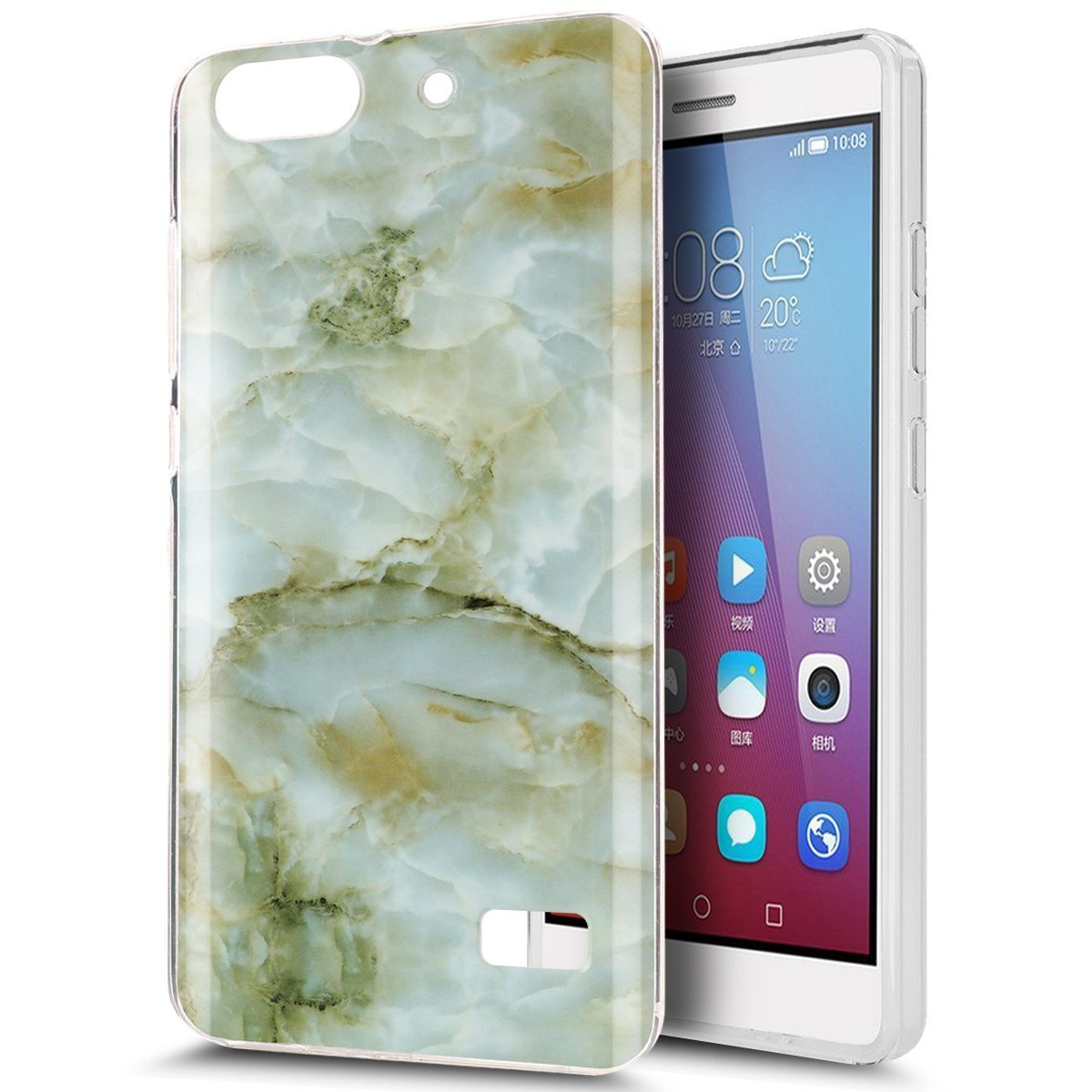 Huawei Honor 4C Case,Huawei G Play Mini Case,ikasus Glossy Marble Ultra Slim Thin Flexible Soft Silicone TPU Bumper Rubber Protective Case for Huawei G Play Mini / Honor 4C - Green