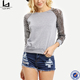 wholesale fitness clothing fashion lady long sequined raglan sleeve sweatshirt