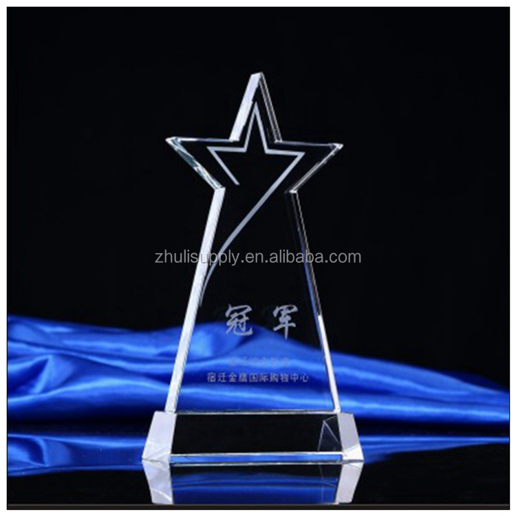 Wholesale star crystal trophy and metal awards for match