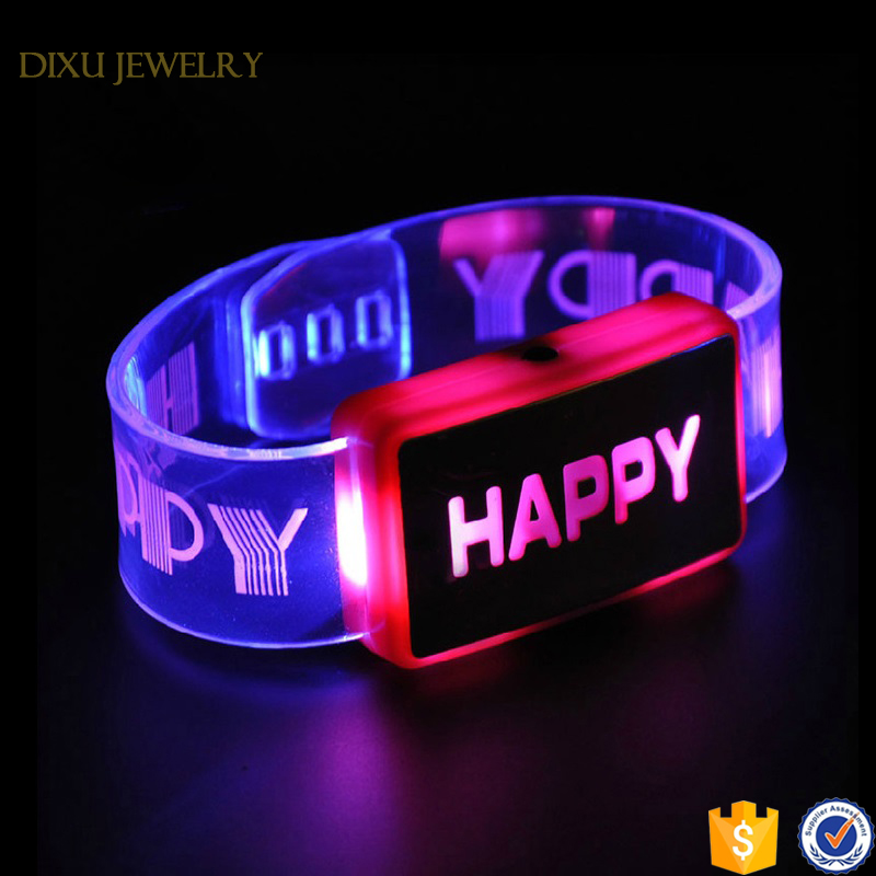 2017 factory price sound activated custom party lighted flashing led bracelet