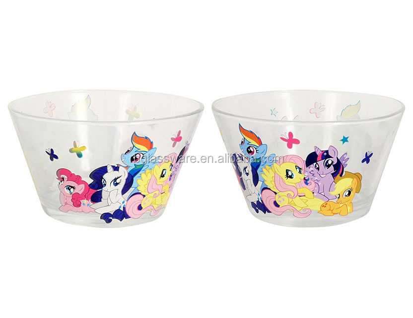 Large Size Glass Salad Bowls with Little Pony Patterns