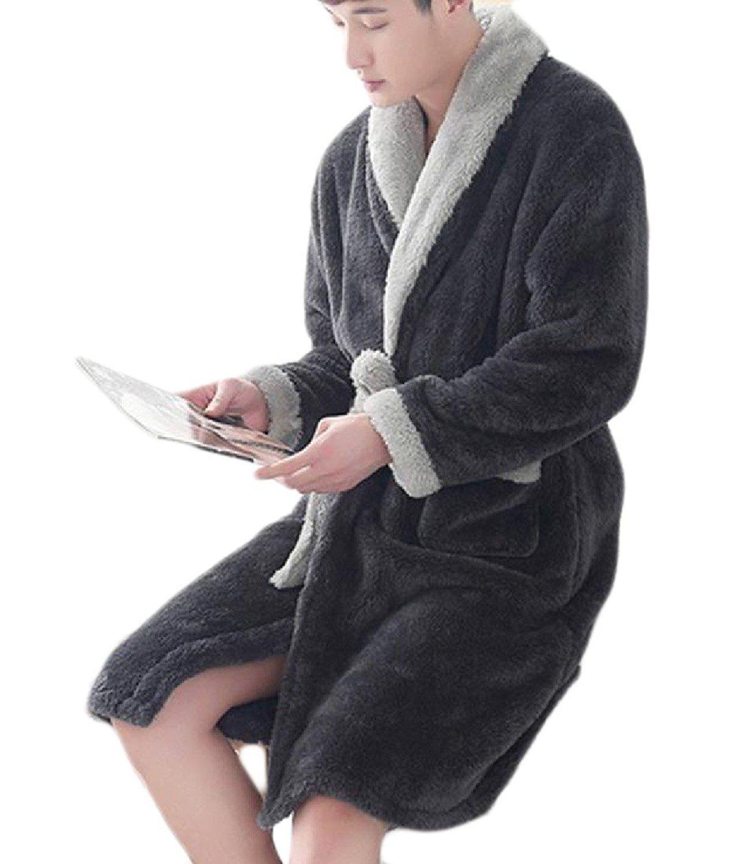CuteRose Mens Plus Size Luxurious Kimono Imitated Silk Sleepwear Gown