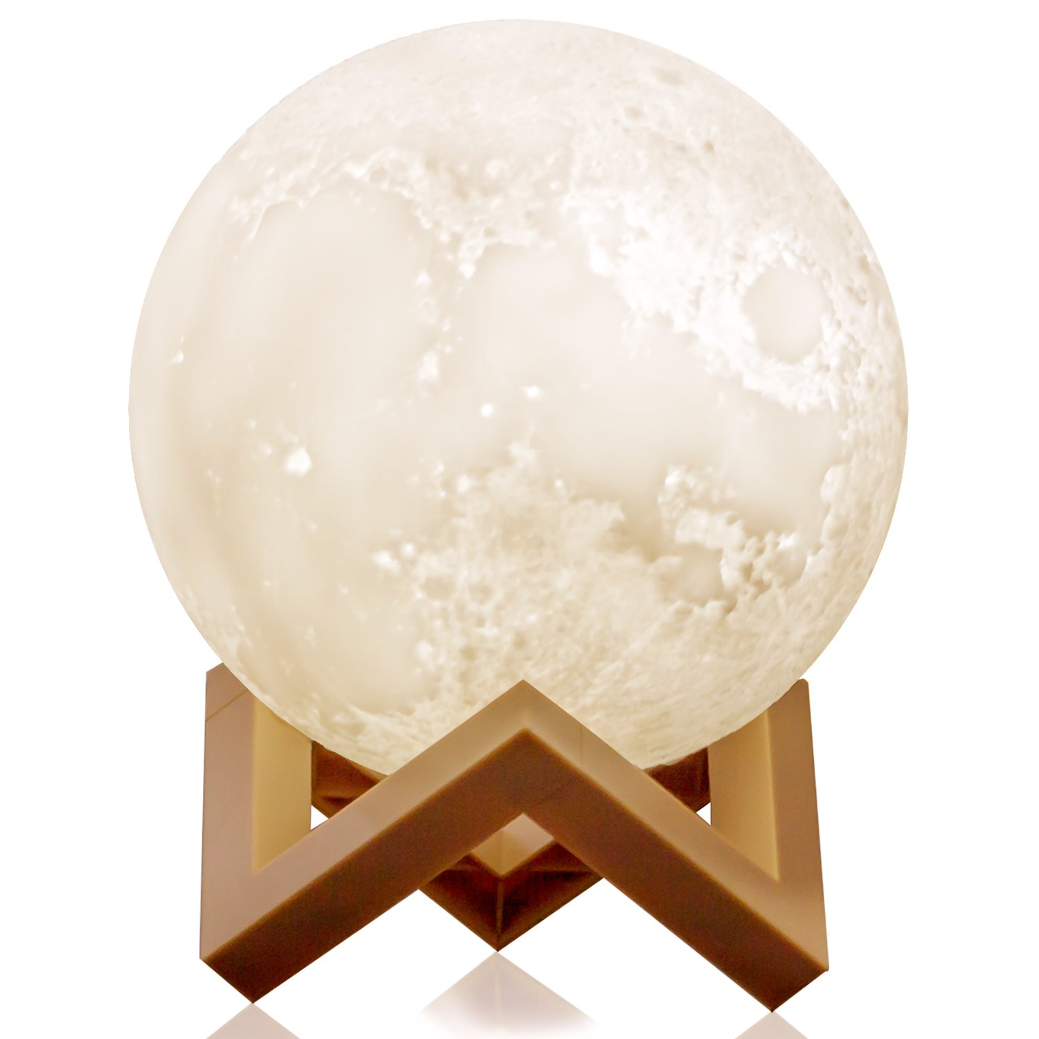 Ehobroc Moon Lamp, 3D Printing Moon Globe Light 5.9 Inch Glowing Moon Lamp Tap Change 3 Colors (Cool/Warm White and Yellow), Decor Moon Light for Kids, Birthday, Bedside