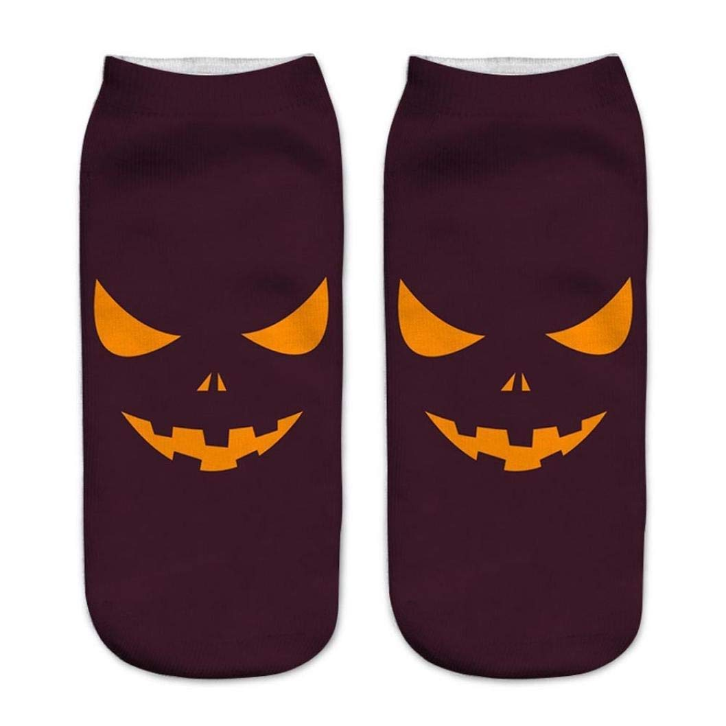 Appoi Colorful Cute Casual Business Socks 3D Halloween Pumpkin Ghost Printing Medium Sports Cotton Socks Womens Mens (A)