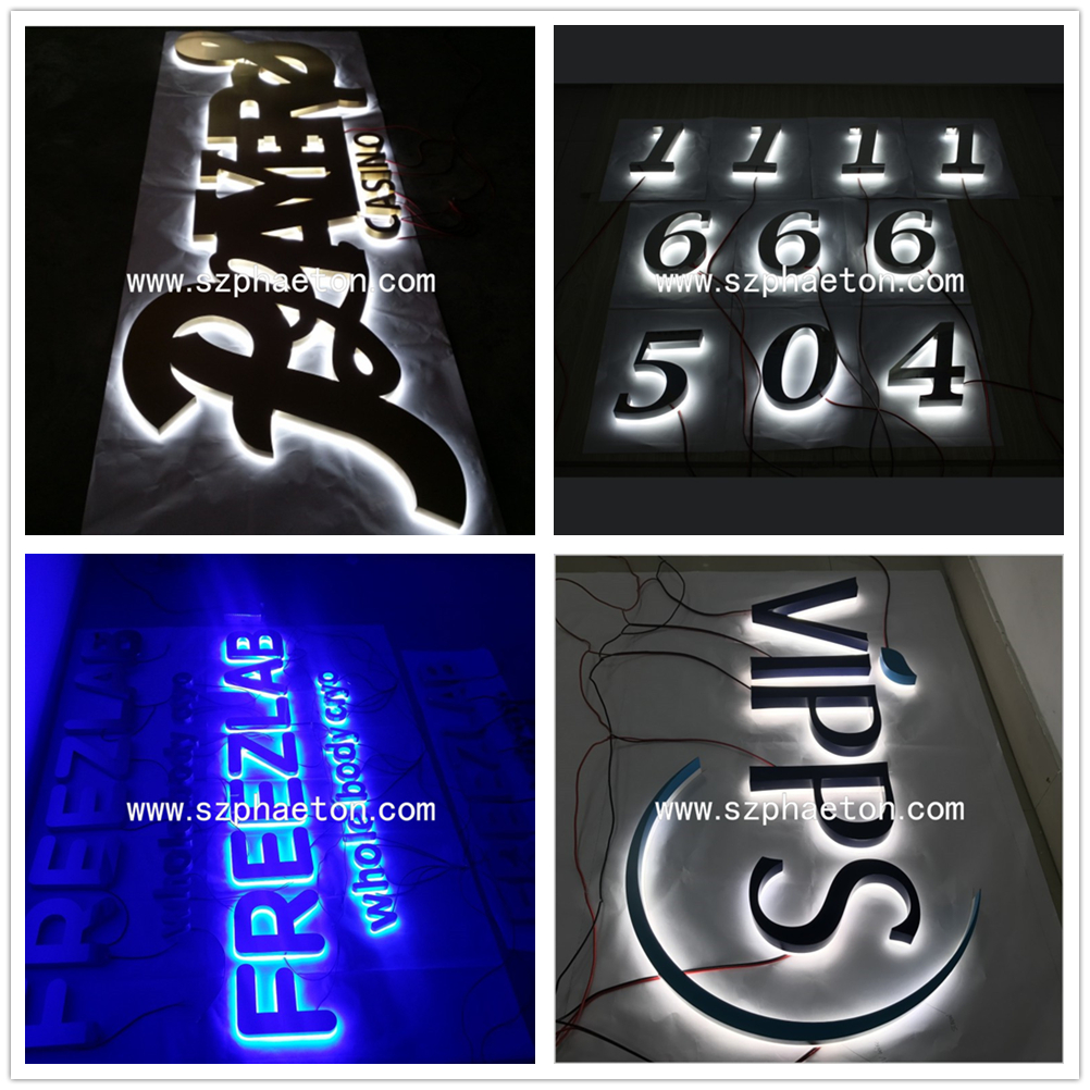 High quality waterproof led backlit 304 stainless steel luminous house numbers