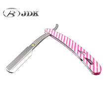 JDK Professionele Straight Edge Safety Razor Roze Witte Streep Kapper <span class=keywords><strong>Scheermes</strong></span>