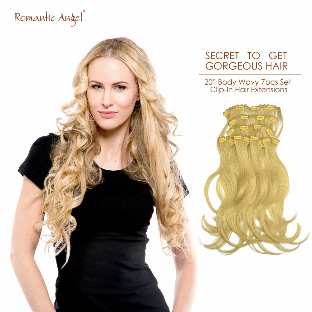 "20"" 50cm Body Wavy Clip-In Hair Extensions 100% Remy Human Hair 85g 7pcs Set Free Shipping"