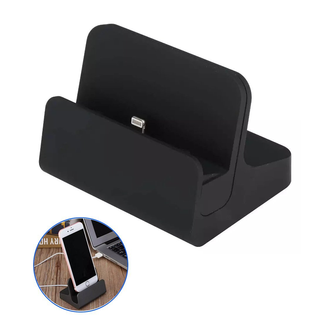 iPhone Charge Dock Cradle - Riipoo Desktop iPhone Charging and Data Sync Transferring Dock, Cradle for iPhone 7,6, 6S, 6 Plus, 5, 5S, 5C, iPad Mini, iPod Touch (Black)