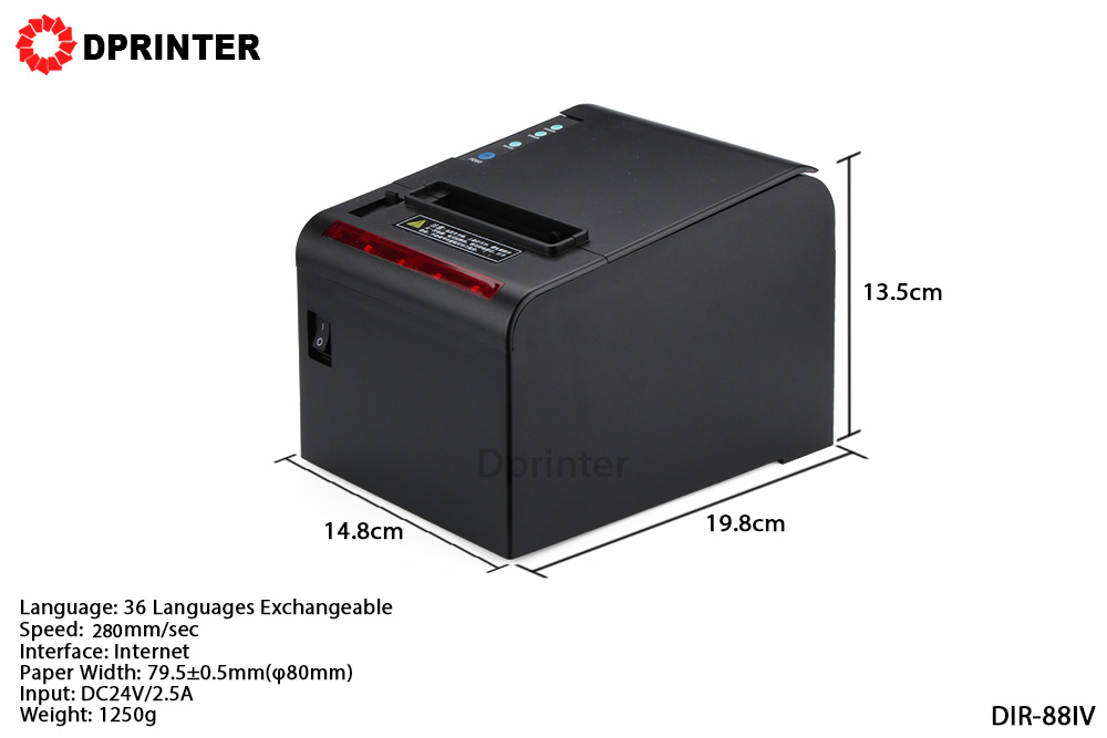 Dprinter 80mm Thermal Receipt POS Printer with Auto Cutter Kitchen Bill Printer LAN Ports 280mm/s