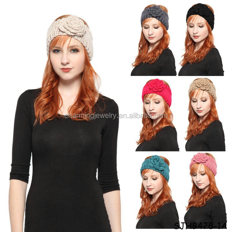 2015 new knitted headband manufacturer with big flower
