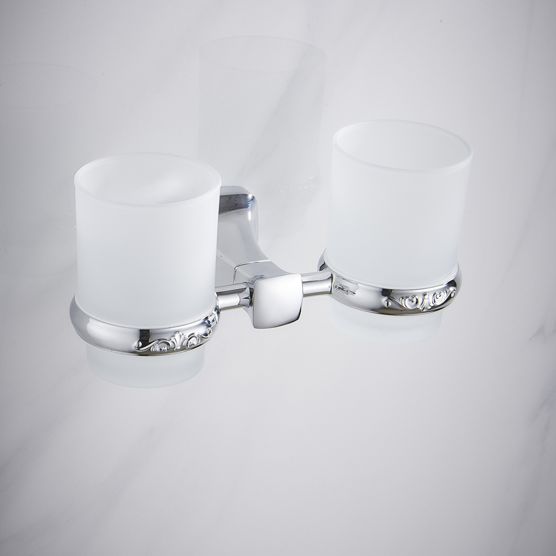 Wall Mounted Double Tumbler Holder Bathroom Glass Holders Twin Tumbler Holder