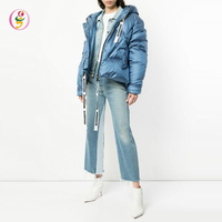 blue puffer jacket hooded neckline bubble zipper winter wears down jacket blazer women