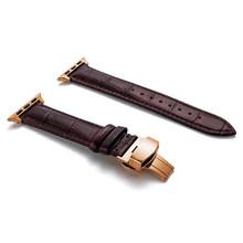 Кожаный ремешок для apple watch 5 4, ремешок 44 мм 40 мм с пряжкой-бабочкой iwatch 3 2, ремешок 42 мм 38 мм, ремешки для apple watch(Китай)
