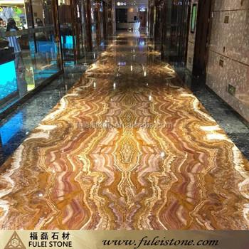 Yellow Tiger Onyx Marble Floor Tiles