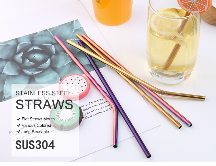 Custom Printed 304 Stainless Steel Drinking Straws With Brush Reusable  Metal Straws