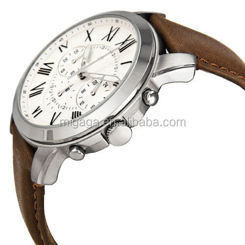 Chronograph Egg Shell Dial Brown Leather Mens Watch