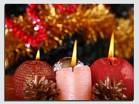 Christmas pine cone ribbon candle canvas picture with led light