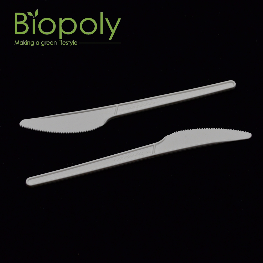 100% biodegradable disposable PLA plastic spoons fork knife cpla compostable cutlery set