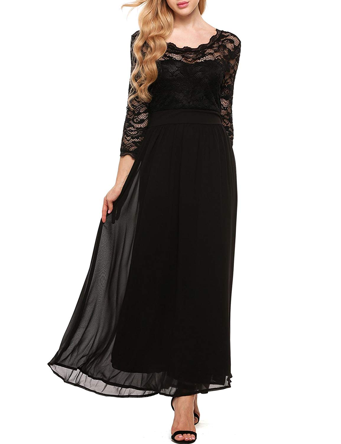 da5798b33c1c Get Quotations · Meharbour Blue Lace Maxi Dress Long Sleeve Floral Lace  Maxi Long Dresses for Women Ladies Black