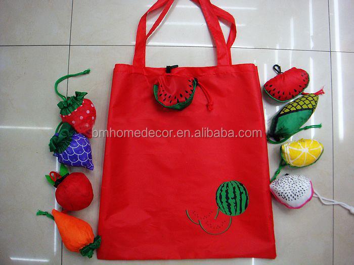 Cartoon Fruit Folding Tote Bag / Reusable Foldable Shopping Bag ...