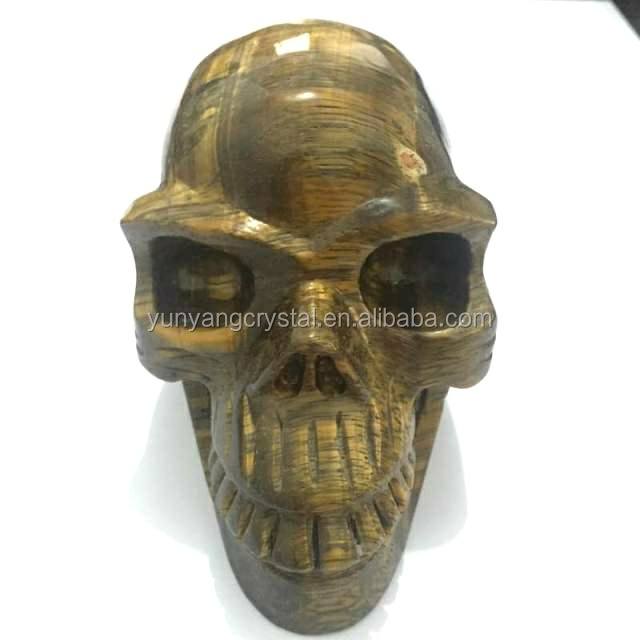 2017 The new Natural tiger eye stone quartz crystal skull for sale