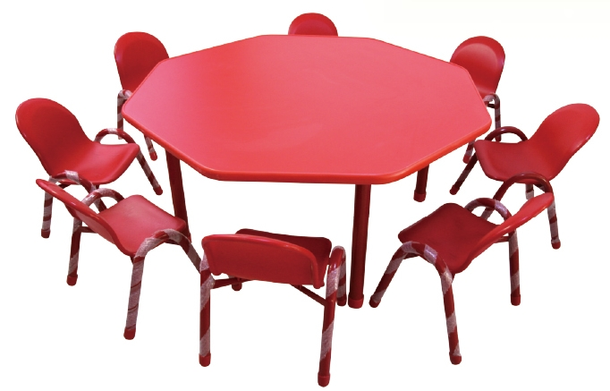 8 Seats Plastic Kids Table And Chair Sets Red Color Play Chairs