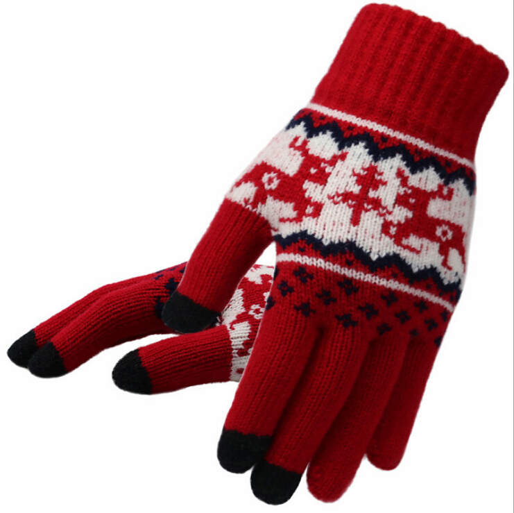 100% Acrylic Jacquard pattern winter keep warm Knitted Gloves