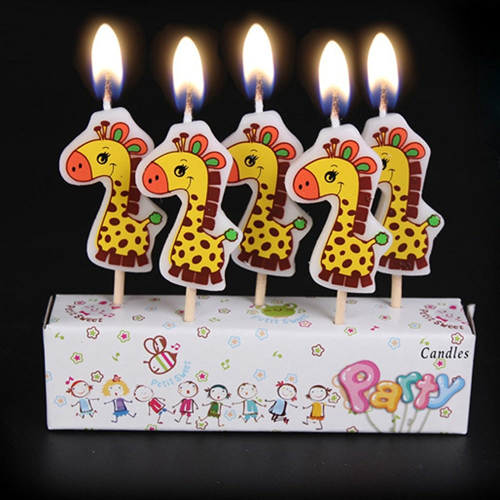 Ecape Cartoon Animal Party Candles Cute Dinosaurs Handmade Craft Western Cake Decoration 5 A Set