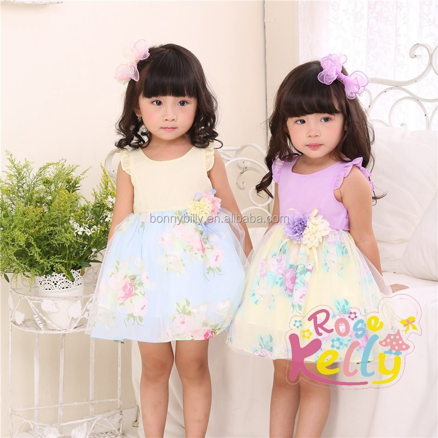 Cute Little Fly Sleeve Children Chiffon Dress Baby Tutu Dress Baby