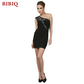 Ladies Sexy Black Short Bandage Evening Dress With One Shoulder