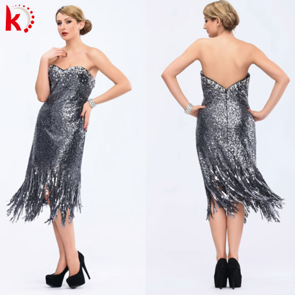Off shoulder sexy back open heavy sequins beaded short celebrity dress 2014