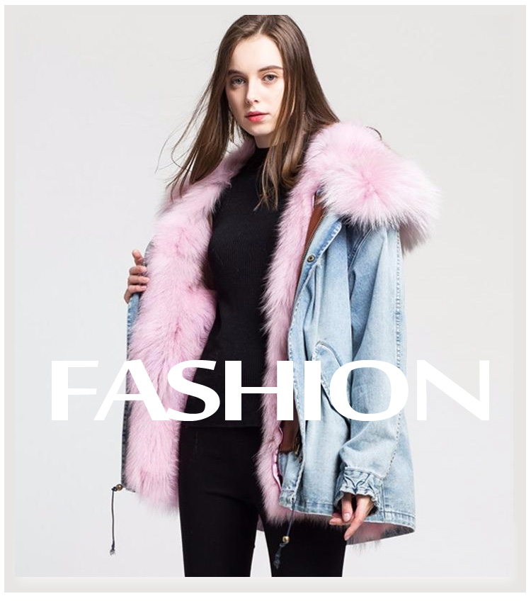 Superior Quality ladies Winter fur Liner Detachable denim jacket Coat fur parka parka fur women