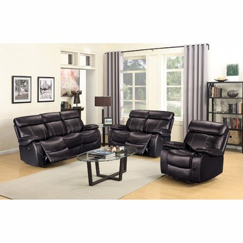 Modern Luxury Italian Full Thick Leather Living Room Italy Recliner Sofa Set
