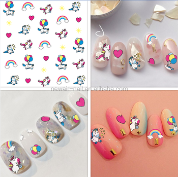 Promotion Unicorn Rainbow Nail Art Stickers For Nails
