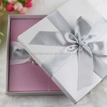 Customized Luxury Ribbon Silk Box Satin Wedding Invitations - Buy ... fa8da00c4d3d