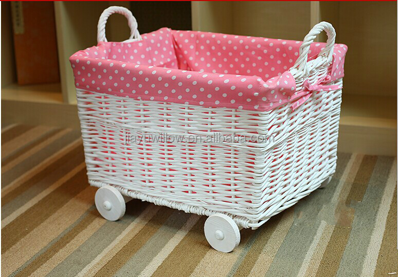 Handmade Fabric Lined White Wicker Dirty Clothes Storage Basket With Wheels  Wicker Baskets With Wheels For