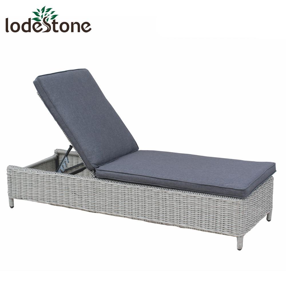 - Cheap Outdoor Rattan Chaise Lounge Aluminium Plastic Sun Lounger