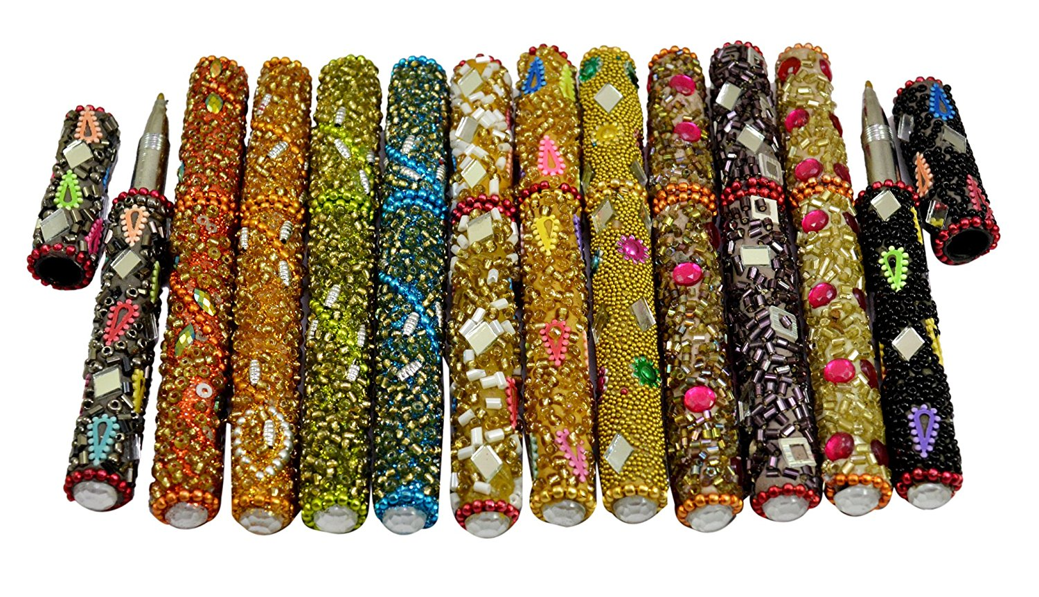 Amazing India A Set Of 12Pcs Rajasthani Table Decorative Useful Pens 5 Inches Multi Color
