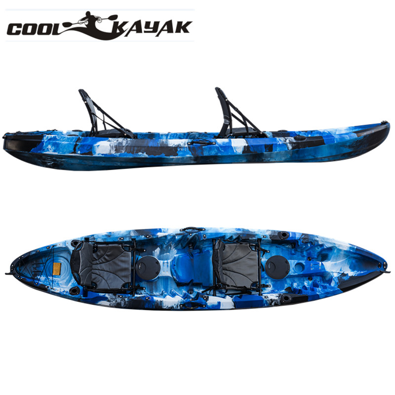 plastic kayak for 2 or 3 person fishing rowing <strong>boat</strong> and cheap made in China recreational kayak hot for sale-OCEANUS 2.0
