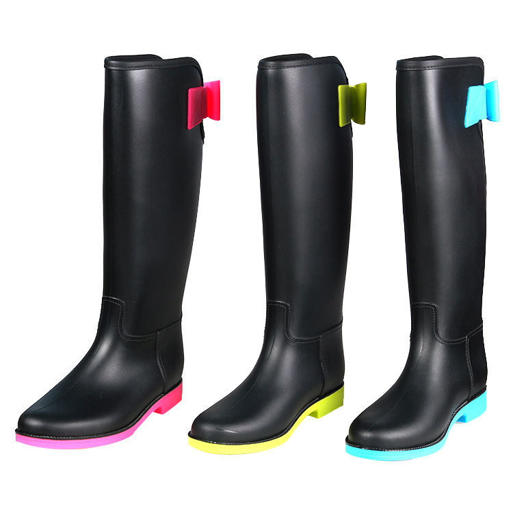 d0e74b27917f Get Quotations · New fashion knee-high waterproof rainboots girl wellies  brand female rubber in women riding boots