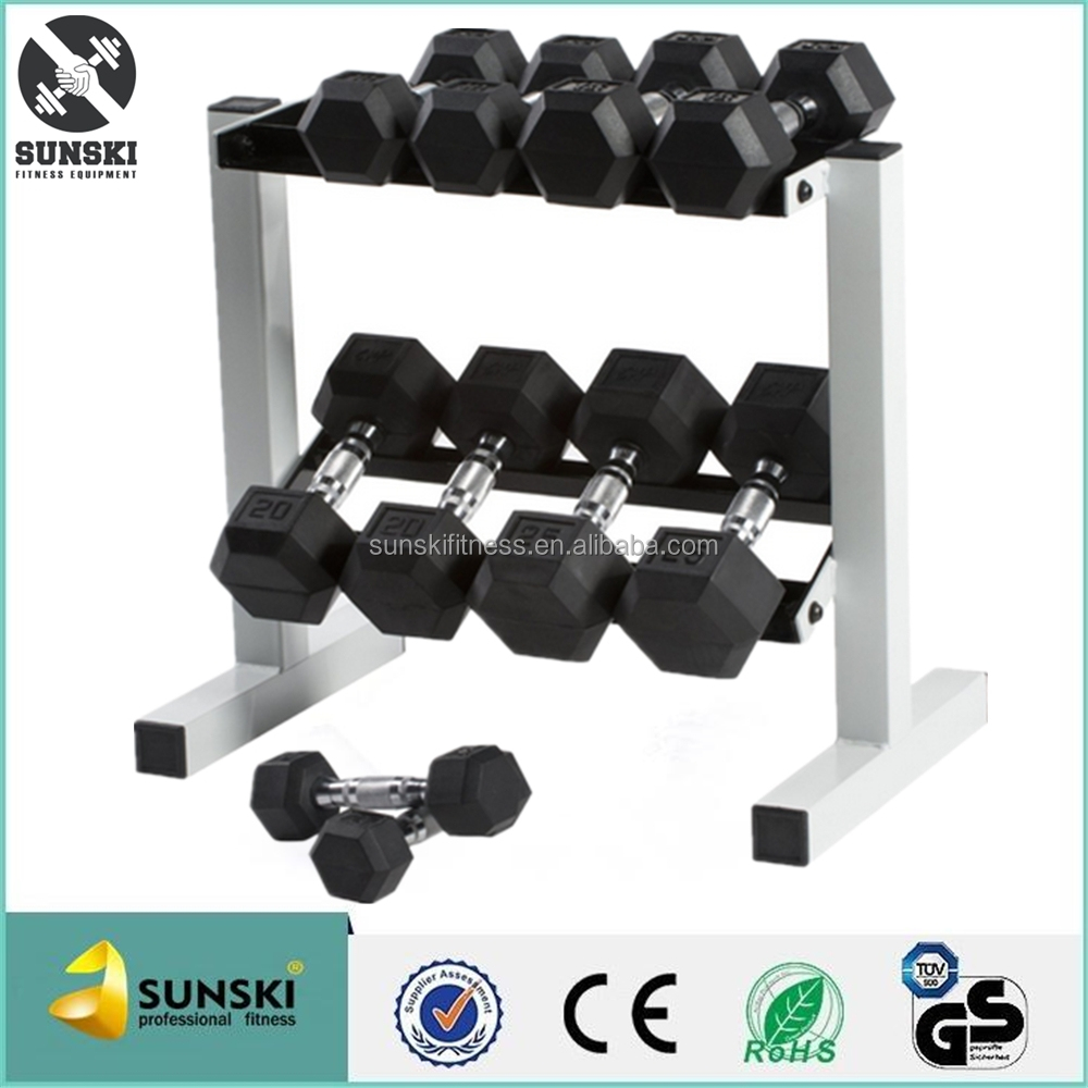 Crossfit Rubber Coated Hex Dumbbell for Sale