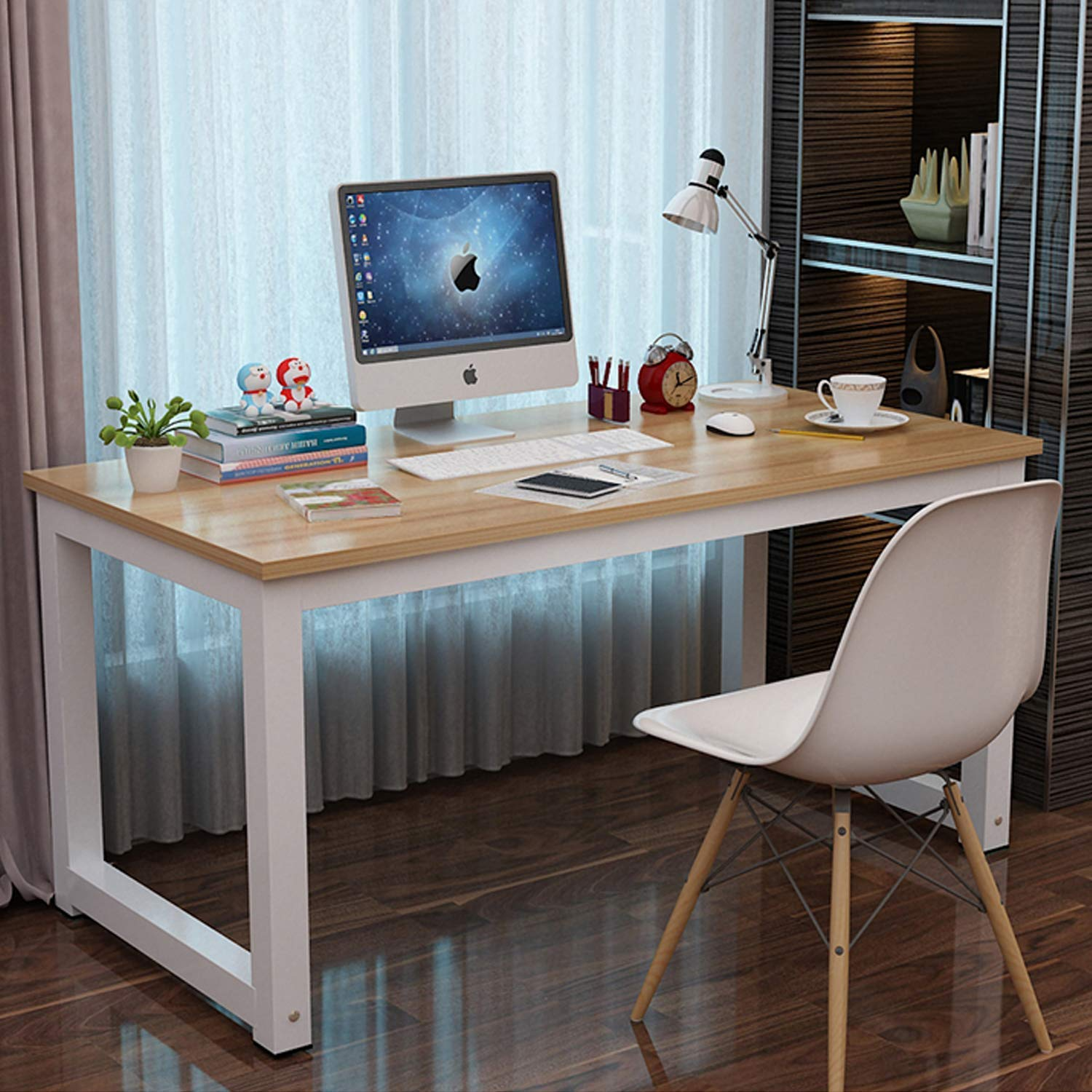 "Long World 47"" Modern Simple Style Computer Table Study Writing Desk Office Desk Rectangular Dining Table PC Desk Laptop Table Small Desk Gaming Desk Workstation Home Wood &Metal (Beige & White Leg)"