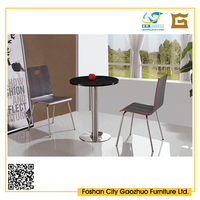 competitive price factory supply steel frame wooden top aluminum edged square table for restaurant cafee for restaurant