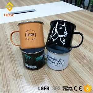 250ml/350ml Wholesale Outdoor Custom Printed Coffee Mugs Ring Enamel Camping Drinking Tin Mug Promotional Beer Cup