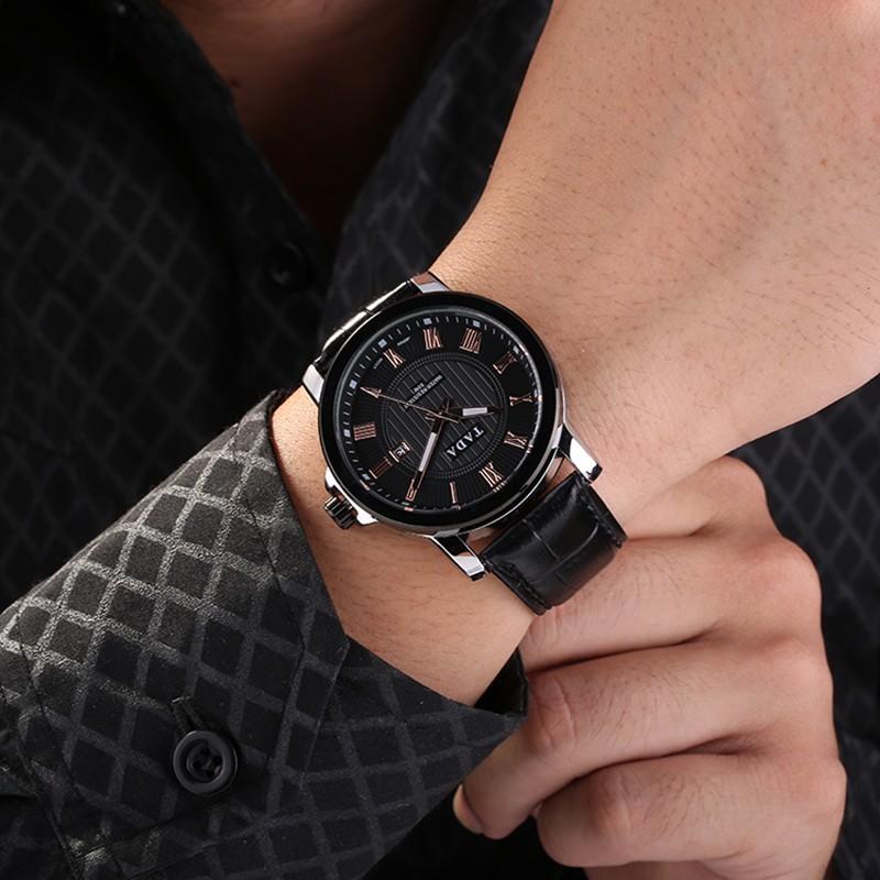 7049243dd ساعات رجالية فاخرة ماركة تادا اليابانية الكوارتز تاريخ جلد الأعمال عارضة  ساعة اليد الذكور للماء relojes