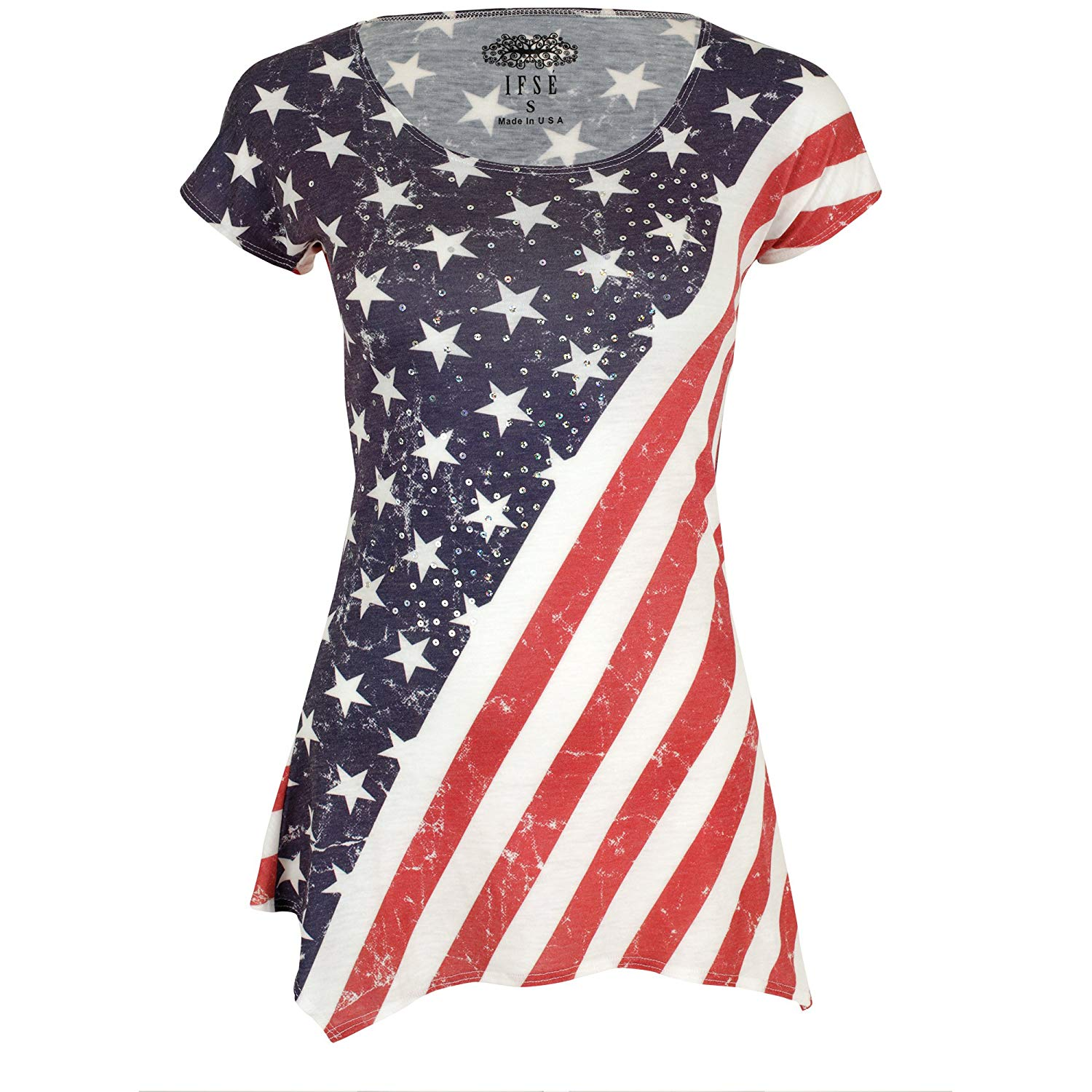 9bd6b3035e6ce1 Get Quotations · GreaterGood American Flag Sequin Tee