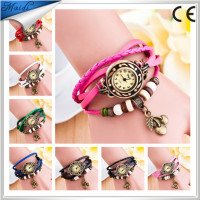 Women Retro New Genuine Leather Hand Knit Vintage Watches,bracelet Wristwatches Cherry Pendant VW018