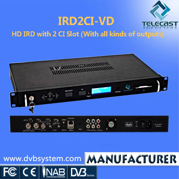HD 2 CI Slot MPEG4 Decoding IRD made in China